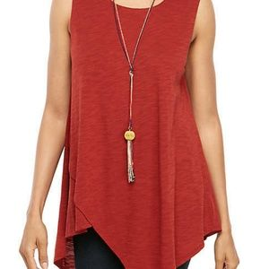 New Directions Sleeveless Asymmetric Tunic Sm- NWT